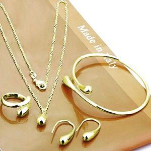 Gold Drop Necklace Earrings Ring Bracelet Set